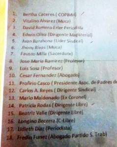 Government assassination list that appeared in 2013 with Berta Cáceres as number 1