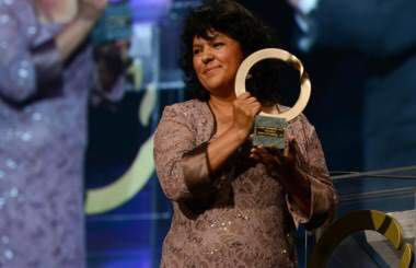 Berta Caceres receiving the 2015 Goldman Environmental Prize