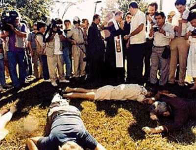 The Jesuits were dragged out in the yard in front of their campus home and were shot in the head, on November 16, 1989.